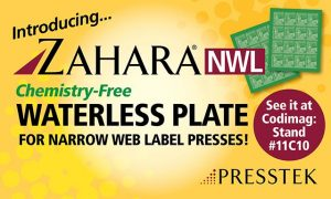Presstek Zahara NWL plate featured with JJ380 Waterless Offset Press at Labelexpo Europe